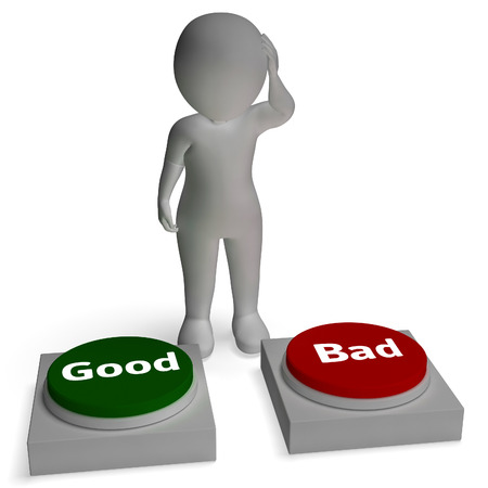 approvement: Good Bad Buttons Shows Approval Or Rejection Stock Photo