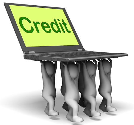 Credit Laptop Characters Showing Borrowing Or Loan For Purchasing Stock Photo - 22702184