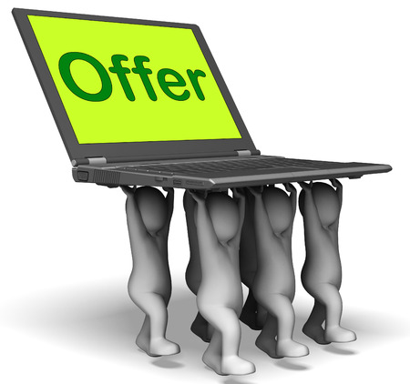 discounting: Offer Characters Laptop Showing Cheap Discounting And Reductions
