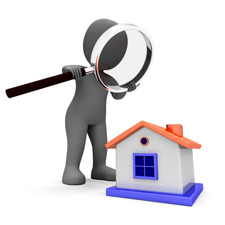House Character Showing Searching Or Looking For Home