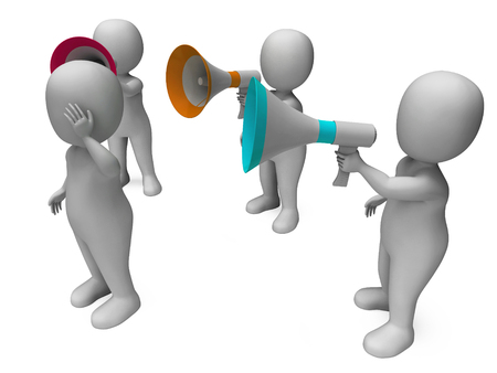 loud hailer: Loud Hailer Character Showing Megaphone Shouting Yelling And Bullying Stock Photo