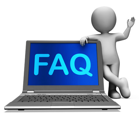 inquiries: Faq Laptop And Character Showing Solution And Frequently Asked Questions Stock Photo