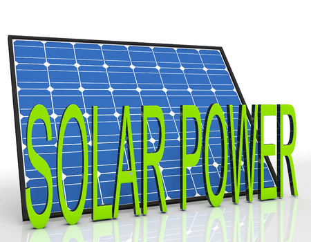 solarpanel: Solar Panel And Power Word Showing Sustainable Energies