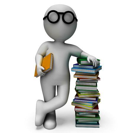 Student And Books Shows Education And Studying