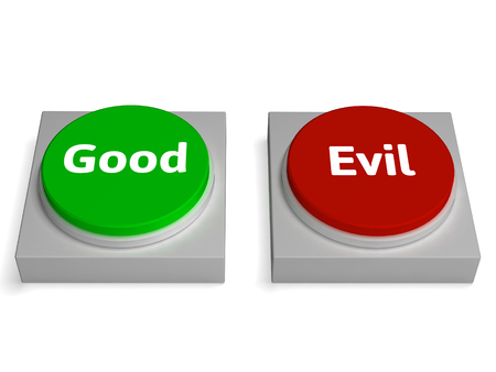 goodness: Good Evil Buttons Showing Goodness Or Devil
