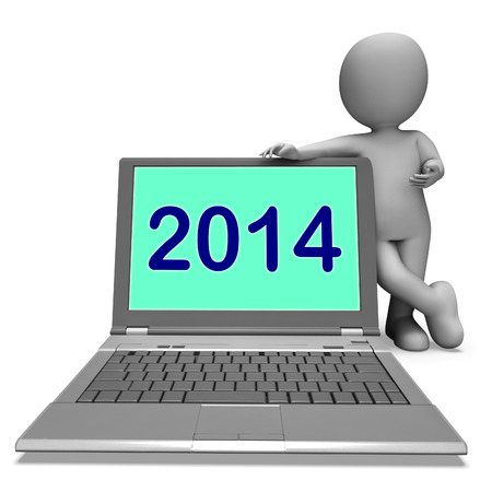 two thousand and fourteen: Two Thousand And Fourteen Character And Laptop Showing Year 2014