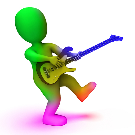 rock guitarist: Rock Guitarist Showing Music Guitar Playing And Character