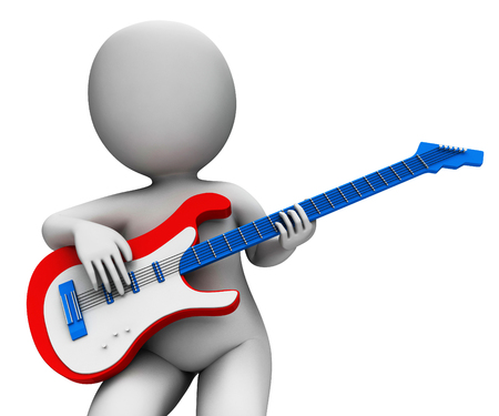 rock guitarist: Rock Guitarist Playing Showing Music Guitar And Rocker Character Stock Photo