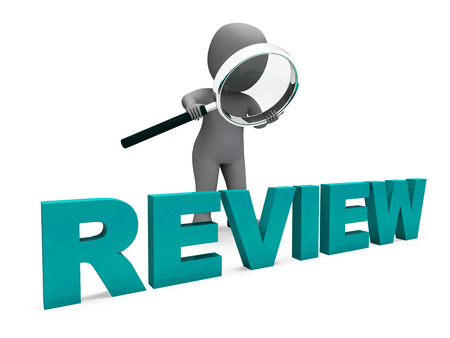 to assess: Review Character Showing Assess Reviewing Evaluate And Reviews Stock Photo