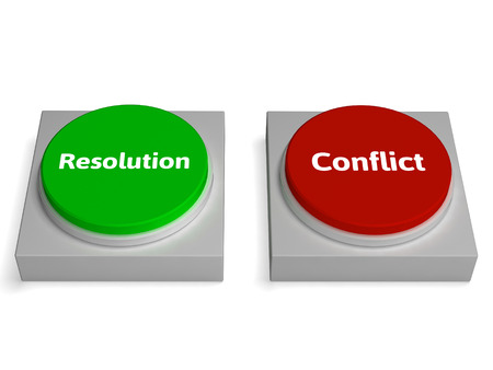 Conflict Resolution Buttons Showing Dispute Or Negotiating photo