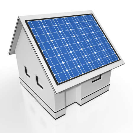 House With Solar Panels Showing Sun Electricity Or Power photo