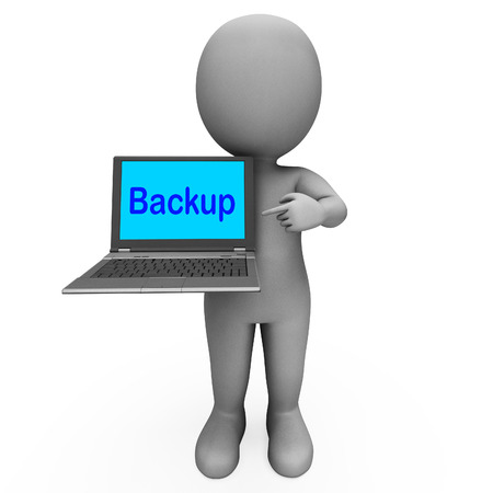 archiving: Backup Laptop And Character Showing Archiving Back Up And Storing