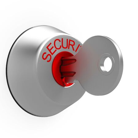 safeguard: Key In Security Lock Shows Safeguard Or Protection