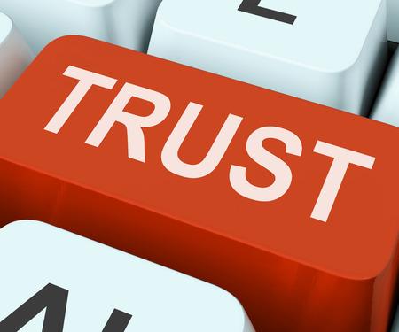 trustful: Trust Key On Keyboard Meaning Believe Faith Or Trustful