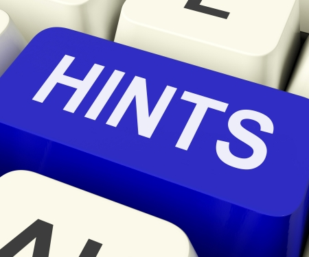 hints: Hints Key Showing Tips Suggestions And Advice