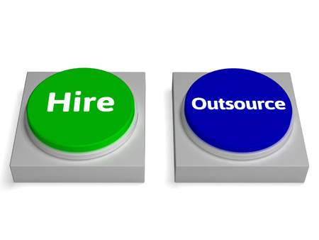 offshoring: Hire Outsource Button Showing Hiring Or Outsourcing