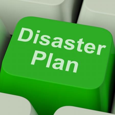catastrophe: Disaster Plan Key Afficher crise d'urgence de la protection Banque d'images