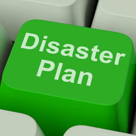 Disaster Plan Key Showing Emergency Crisis Protection Stock Photo