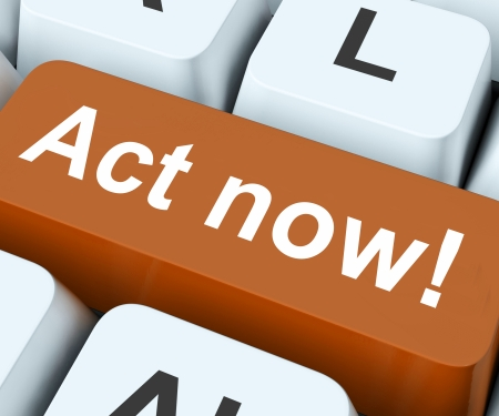 Act Now Key On Keyboard Meaning Do it Or Take Action  Stock Photo