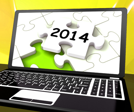 two thousand and fourteen: Two Thousand And Fourteen On Laptop Showing New Years Resolution 2014