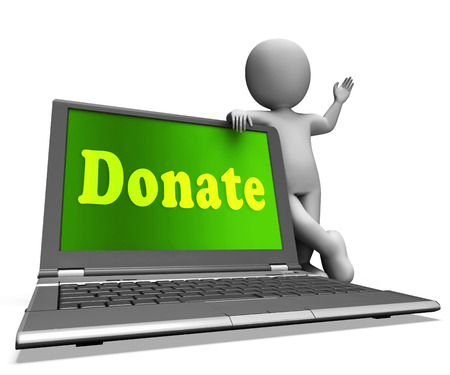 fundraising: Donate Laptop Showing Charity Donations And Fundraising