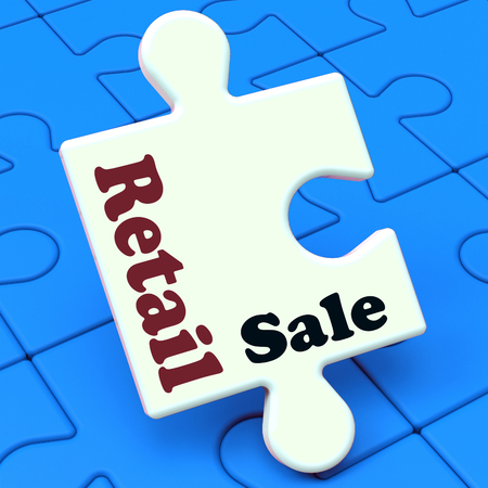 merchandiser: Retail Sale Puzzle Showing Consumer Selling Or Sales Stock Photo