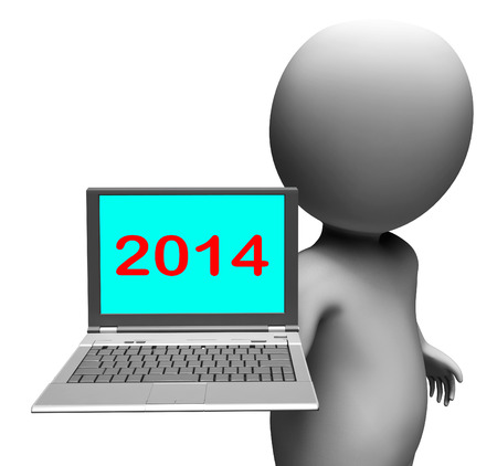 two thousand and fourteen: Two Thousand And Fourteen Character And Laptop Showing New Year 2014