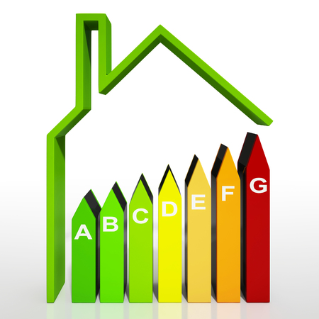 saving energy: Energy Efficiency Rating Diagram Shows Green Housing Stock Photo