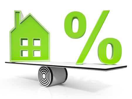 meaning: House And Percent Sign Meaning Real Estate Investment Or Discount Stock Photo
