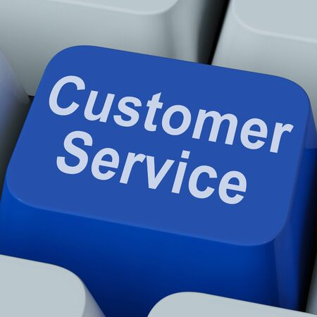 inquiries: Customer Service Key Showing Online Consumer Support Stock Photo