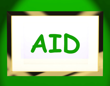 aiding: Aid On Screen Showing Assist Aiding Help Or Relief