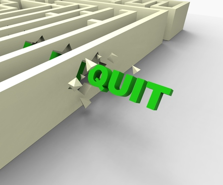 quitting: Quit Word Shows Giving Up Quitting Or Resigning Stock Photo