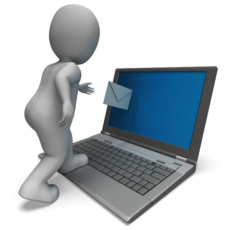 mailing: Email From Laptop Shows E-mail Correspondence And Mailing
