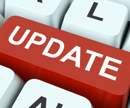 modificar: Actualizar tecla en el teclado Significado Revisar renovar o actualizar Foto de archivo