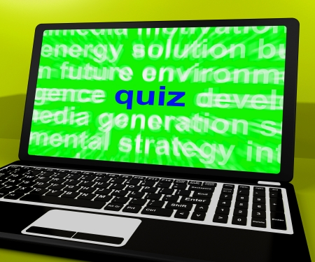 quizzing: Quiz Laptop Meaning Tests Quizzing Or Answers Online Stock Photo