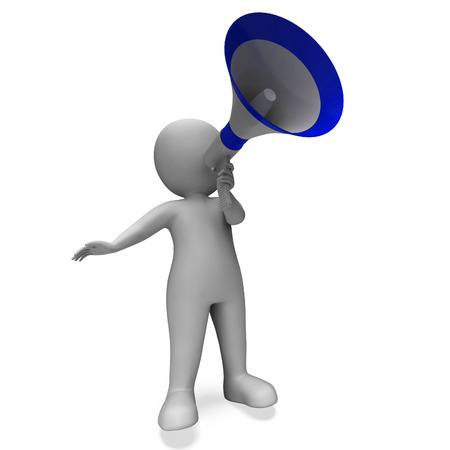 announcing: Megaphone Message Character Showing Announcements Proclaiming And Announcing Stock Photo