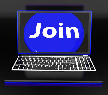 subscribing: Join On Laptop Showing Subscribing Membership Or Volunteer Online