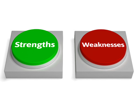 weaknesses: Strengths Weaknesses Buttons Showing Weak Or Strong Stock Photo