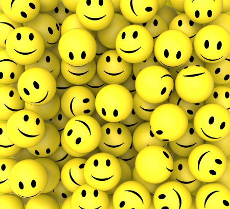 Smileys Show Happy Cheerful And Smiling Faces Standard-Bild