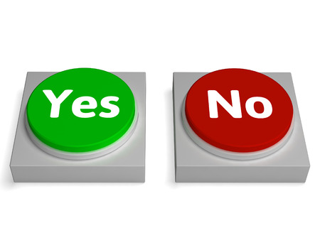 approvement: Yes No Buttons Showing Validation Or Check Stock Photo
