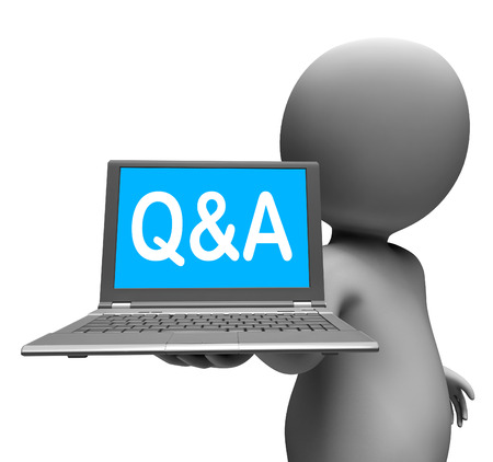 faq's: Q&a Laptop Character Showing Questions And Answers Online