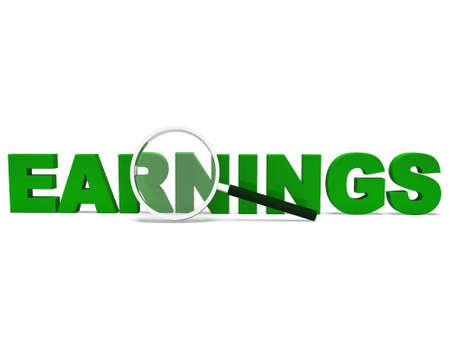 rentable: Ganancias Palabra Mostrando Ganar Ingresos y beneficios Rentable Foto de archivo