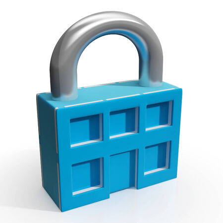 Padlock And House Shows Building Security Or Protection