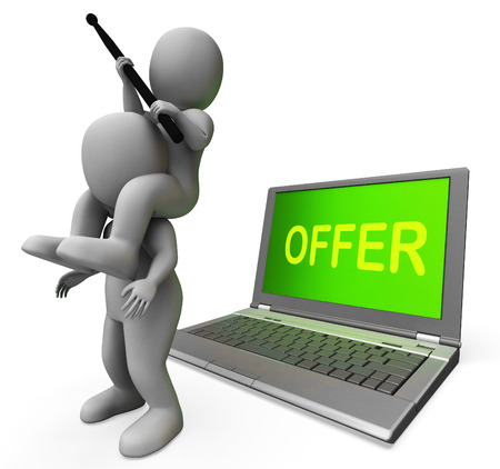 discounting: Offer Characters Laptop Showing Discounts Discounting And Reductions
