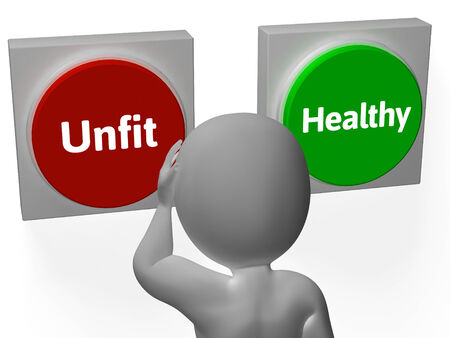 unfit: Unfit Healthy Buttons Showing Bad Health Or Fit Stock Photo