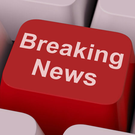 latest news: Breaking News Key Showing Newsflash Broadcast Online Stock Photo