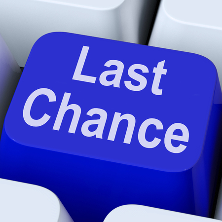 Last Chance Key Showing Final Opportunity Online Stock Photo