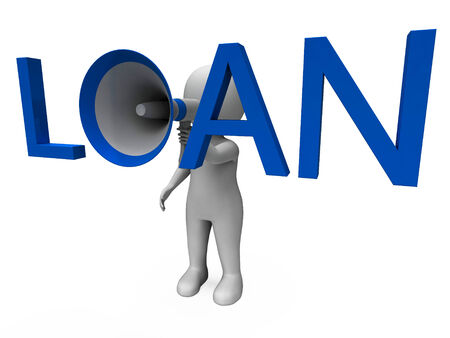 loaning: Loan Hailer Showing Bank Loans Credit Or Loaning Stock Photo