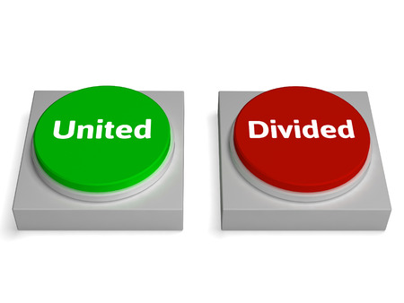 divided: United Divided Buttons Showing Unite Or Divide