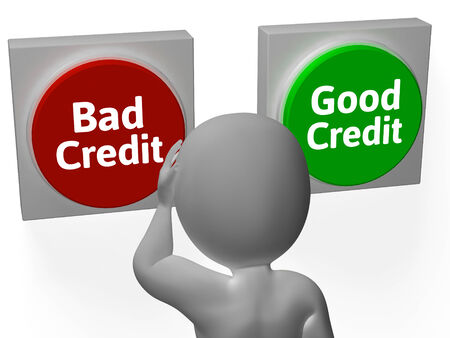 creditworthiness: Bad Good Credit Showing Debt Or Loan